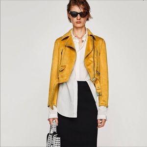 Zara Mustard Biker Jacket Faux-suede Belted